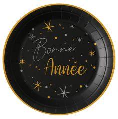 assiette en carton bonne année noire et dorée | jourdefete.com