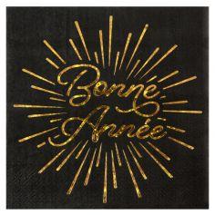 serviette bonne année noire et dorée | jourdefete.com
