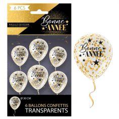 """6 Ballons Transparents avec Confettis """" Bonne Année """" - Noir & Or - 30 cm"""