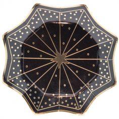 8 assiettes en carton Octogramme avec étoile au milieu - Noir & Or - 22 cm