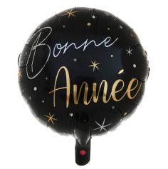 ballon aluminium noir et doré bonne année | jourdefete.com