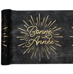 chemin de table bonne année noir et or | jourdefete.com