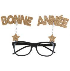 une paire de lunettes bonne année dorée | jourdefete.com