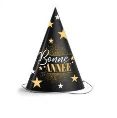 chapeau pointu bonne année collection noir et or | jourdefete.com