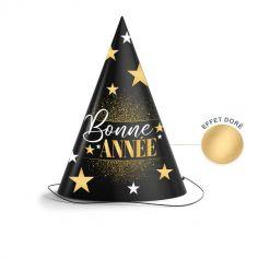 6 Chapeaux pointus Bonne Année - Noir & Or