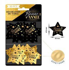 50 Confettis de Table Bonne Année - Noir & Or