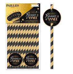 12 pailles en papier avec médaillons Bonne Année - Noir & Or