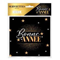 serviette en papier bonne année noire et dorée | jourdefete.com