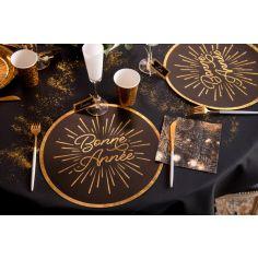 Sachet de 4 sets de table en carton Bonne Année Etincelant - 34 cm