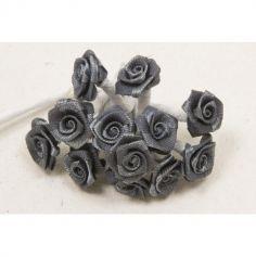 72 Mini Roses en satin sur tige - Gris