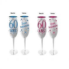 Flûte à Champagne 60 Ans - Bleu ou Rose