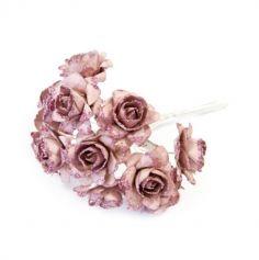 12 Fleurs Papier Pailletées - Rose Gold | jourdefete.com