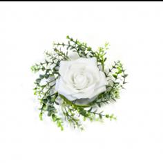 Rose décorative et feuillage de centre de table - Blanc