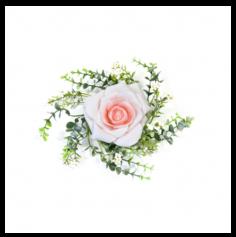 Rose décorative et feuillage de centre de table - Rose pastel