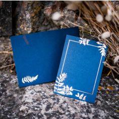 10 Invitations et Enveloppes - Fougères - Bleu Marine et Cuivre
