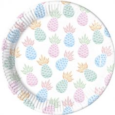 Sachet de 8 Assiettes Ananas - 23 cm