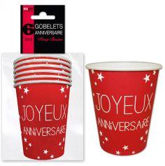 """6 Gobelets """"Joyeux Anniversaire"""" - Rouge"""