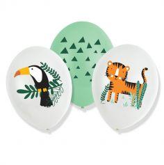 6 ballons de baudruche en latex les animaux de la jungle | jourdefete.com