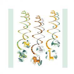 6 spirales à suspendre recto verso les animaux de la jungle | jourdefete.com
