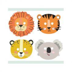 8 masques en carton les animaux de la jungle | jourdefete.com