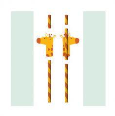 8 pailles en carton avec medaillon girafe | jourdefete.com