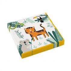 16 serviettes en papier les animaux de la jungle | jourdefete.com