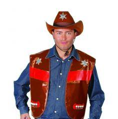 Gilet Cowboy Adulte - Marron Foncé