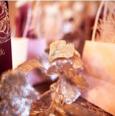 Feuilles Ginkgo Paillettes Rose Gold - 80 cm
