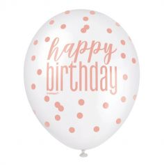 "6 Ballons en latex "" Happy Birthday "" Prism - Glitz Rose Gold"