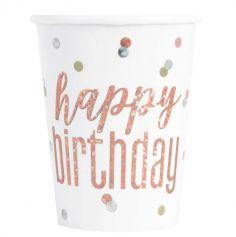 gobelets-verres-carton-rose-gold-glitz-vaisselle-jetable-anniversaire-decoration-table | jourdefete.com