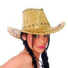 Chapeau Western à Sequins Or