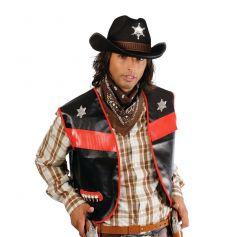 Gilet Cowboy Adulte - Noir