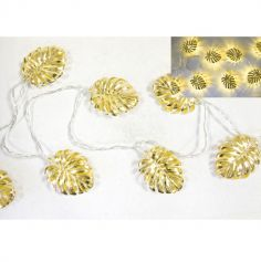 Guirlande de Feuilles avec 10 Lampes LED - 165 cm - Rose Gold ou Or