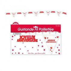Guirlande 5 Fanions Pailletes et Joyeux Anniversaire - Rouge | jourdefete.com
