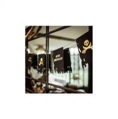 Guirlande de 9 fanions Joyeux Anniversaire - Pirate Kraft, Noir & Or - 1m50