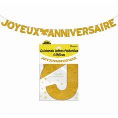 Guirlande 4m Lettres a paillettes Joyeux Anniversaire Or | jourdefete.com