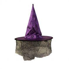 Chapeau de Sorcière avec voile - Adulte - Violet