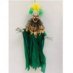 Clown vert animé et sonore à suspendre - 100 cm