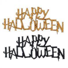 10 Confettis de table en bois Happy Halloween