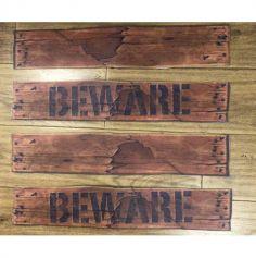 """Fausses Planches en bois """" Beware """" - Décoration Halloween"""