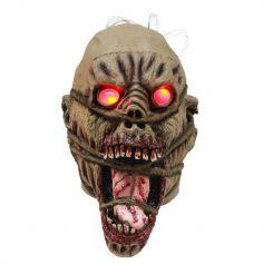 Masque intégral en latex de Zombie avec yeux leds et cheveux