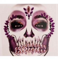 bijoux adhesifs visage halloween tete de mort rose et violet | jourdefete.com
