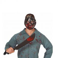 masque de hockey noir et machette ensanglantee | jourdefete.com