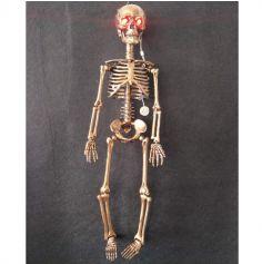 Squelette à suspendre aux yeux lumineux rouge - 14 x 9 x 62 cm environ