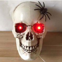 Tête de Mort avec araignée - Animée et Sonore - 22 cm