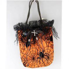 Sac à bonbons orange et ses toiles d'araignées pour Halloween