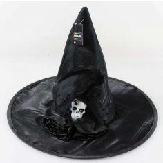 Chapeau de sorcière Halloween avec plume et tête de mort