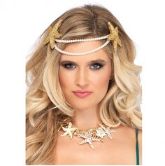 Headband Adulte de Sirène avec Etoiles de Mer et Perles
