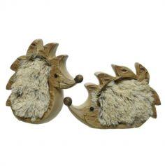 Hérisson en terre cuite avec fourrure synthétique - 17 cm environ - Debout ou Assis