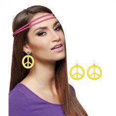 Boucles d'Oreilles Hippie Peace And Love - Jaune